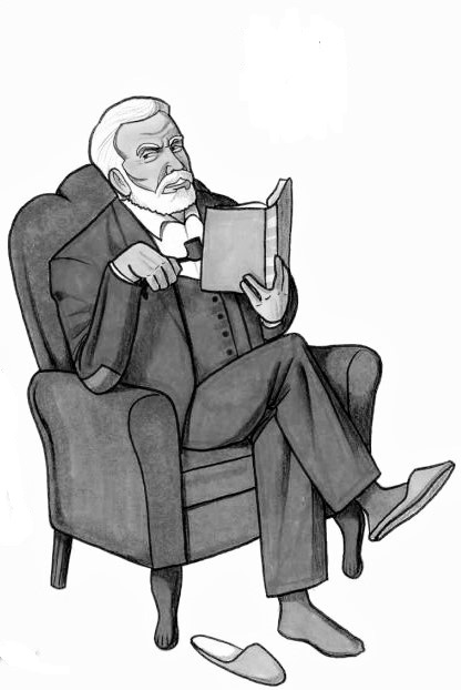 z used drawing man in armchair with slipper (1)