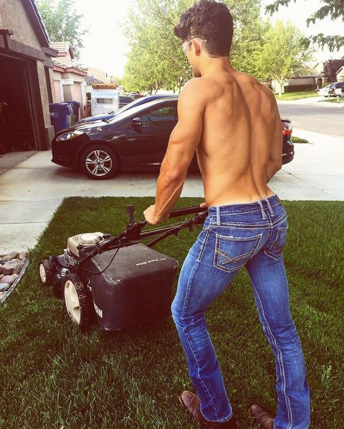 z used mowing lawn cutting grass prior to spanking