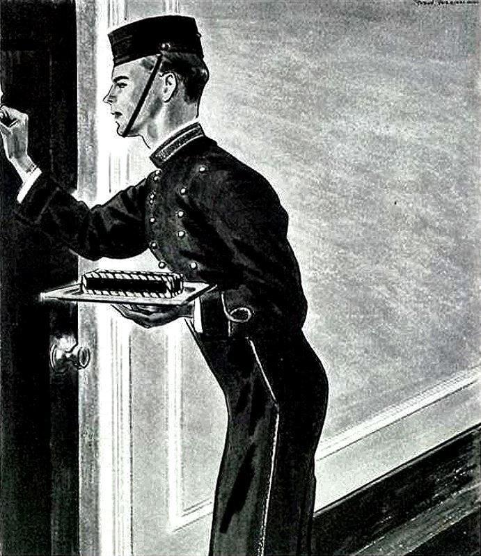 retro bellboy hotel barbasol for better shaving, 1934