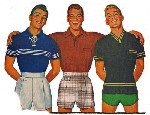 retro short shorts threesome